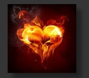 heart flame button